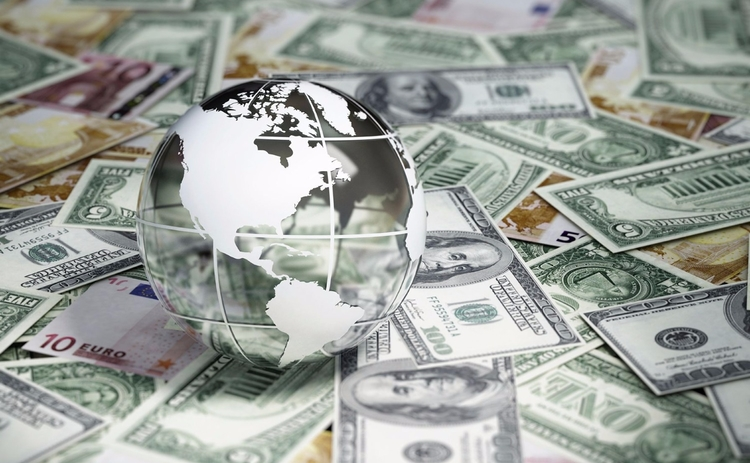 US dollars and globe