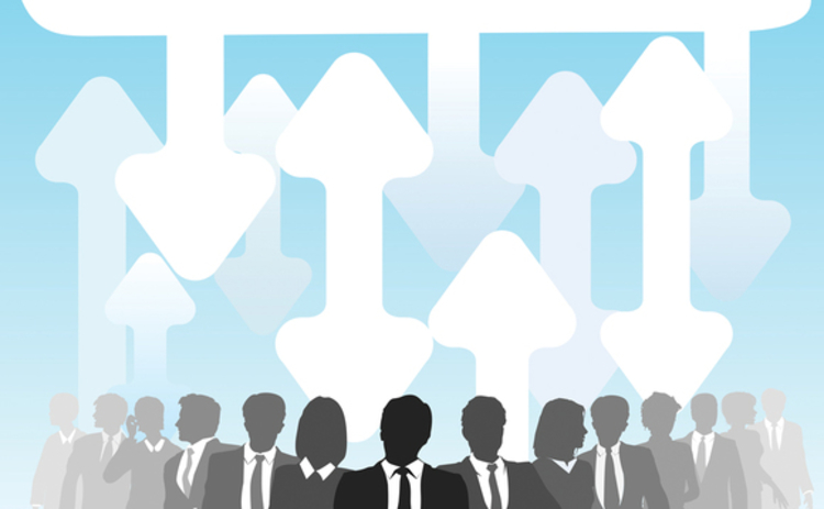 Silhouettes of businesspeople below a cloud connected by arrows